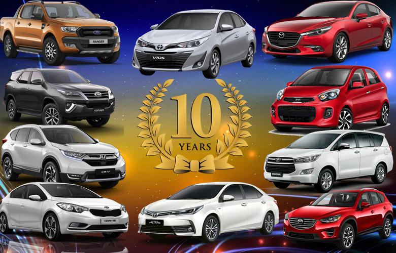 Top 10 xe ô tô bán chạy nhất 10 năm qua