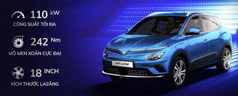 Thông số động cơ và pin xe điện Vinfast VF e34