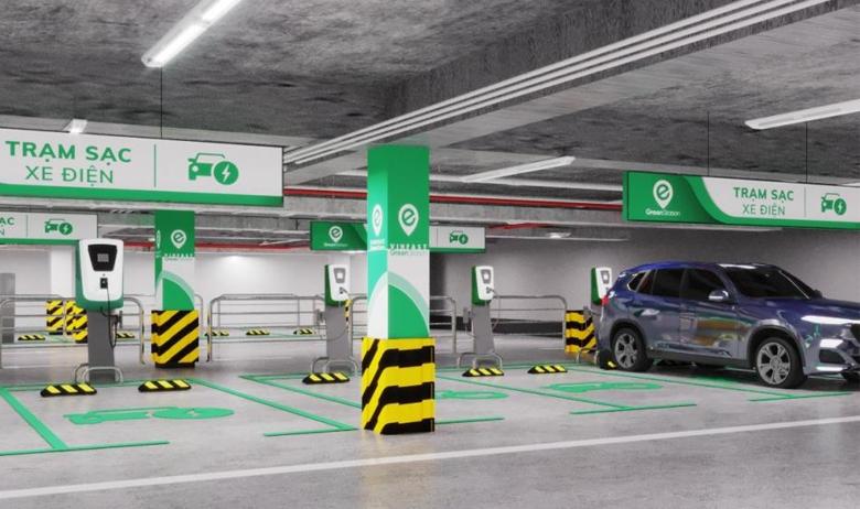 Trạm sạc pin đặt tại bãi đỗ xe trong các trung tâm thương mại