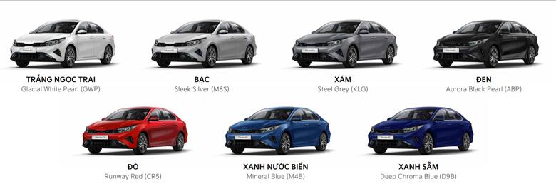 Kia K3 có 7 màu sắc ngoại thất
