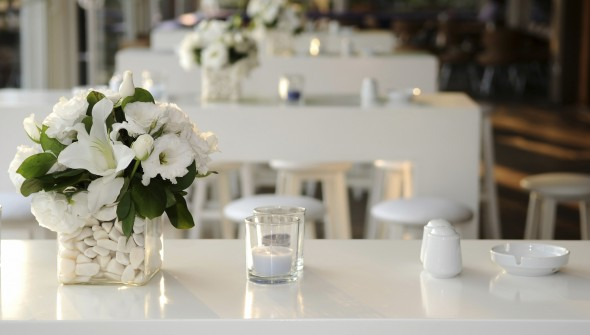 all white event flowers