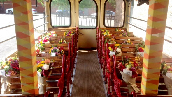 Delivering Flowers for Dreams via trolley