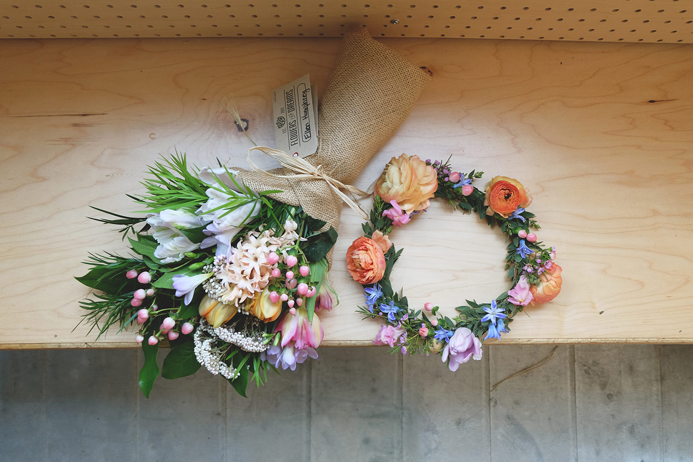 Spring flower bouquet and flower crown