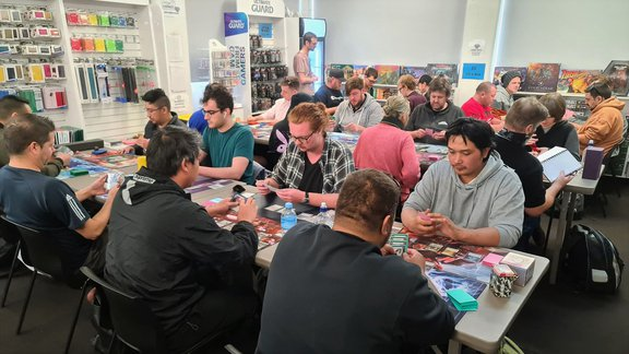 Cerberus Games Skirmish Sealed event - wide shot of swiss rounds