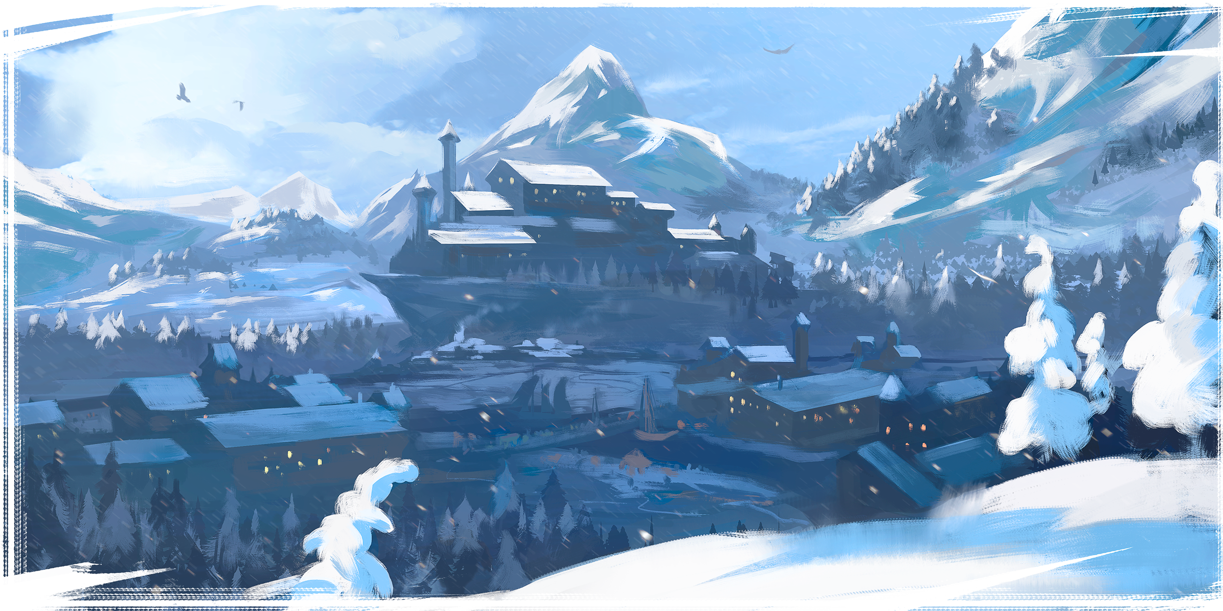 A scene of a frozen landscape within the Northern Realms