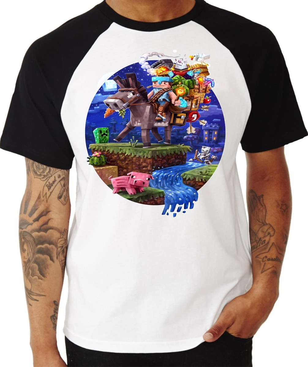 Camiseta - Raglan - Minecraft