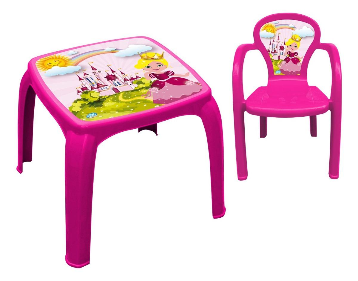 Image of: Mesa Mesinha Infantil Com Cadeira Princesa Rosa Plastico Facily