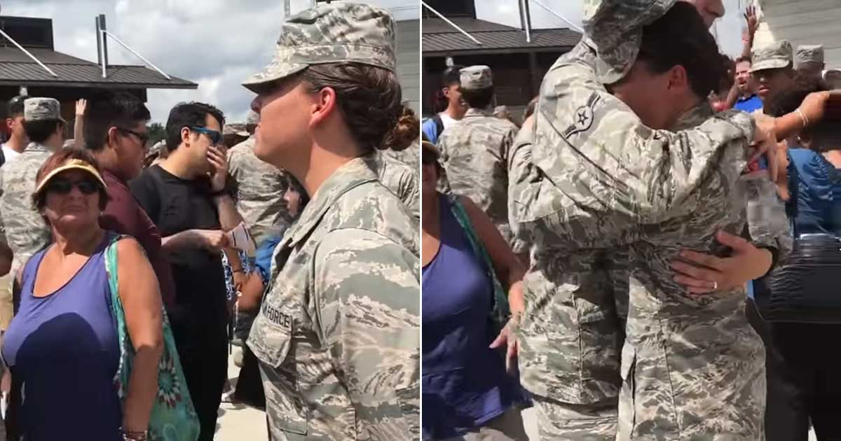 Military Brother Surprises Sister At Air Force Basic Training Graduation