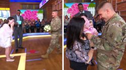 military dad sees baby for the first time