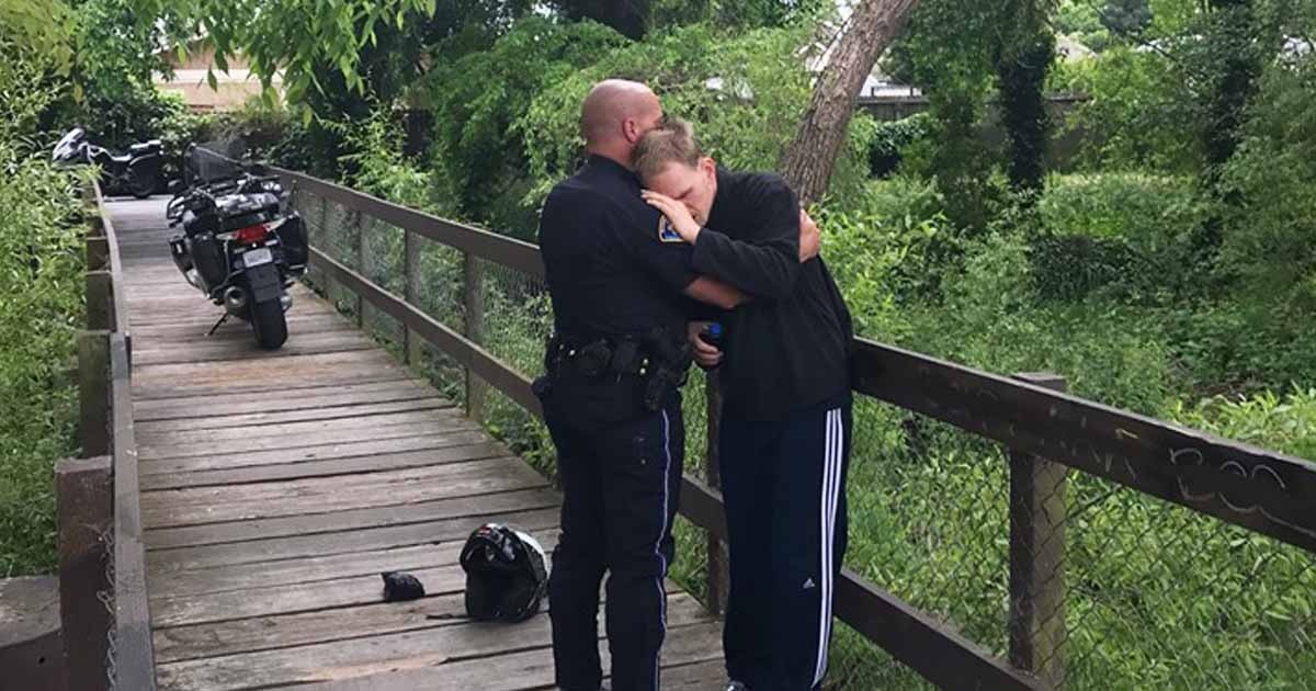 officer comforts man with special needs