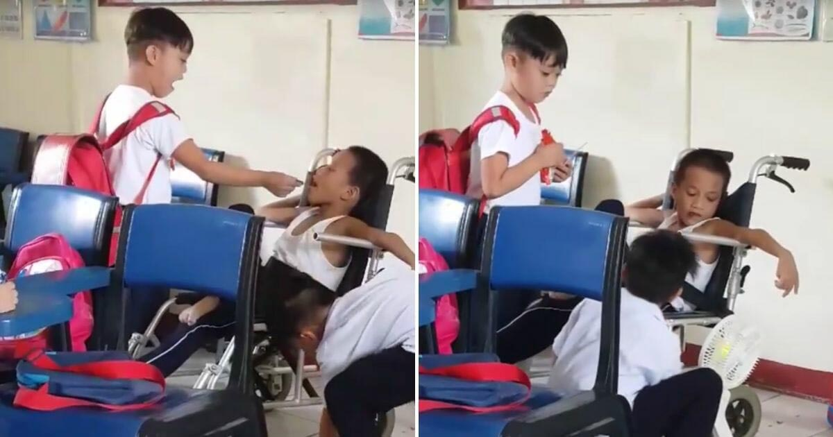 classmates-feeds-disabled-student