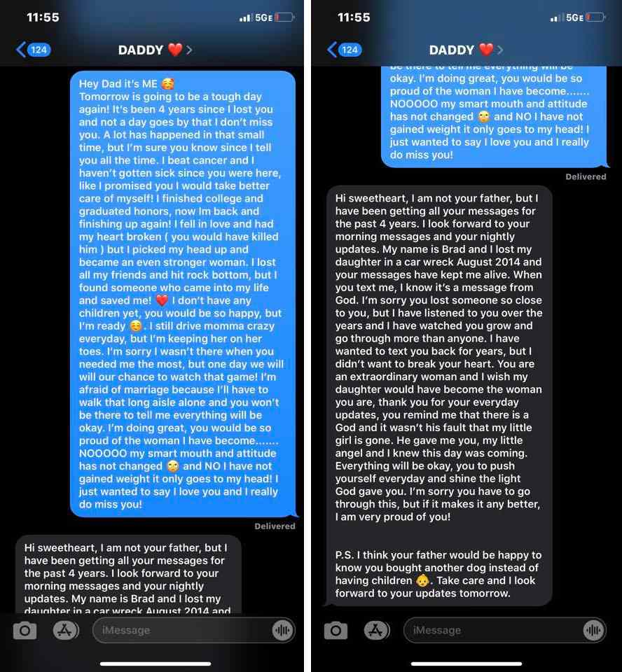 Image result for images of Lady who texted dead dad's phone for four years non-stop gets shocking text message response