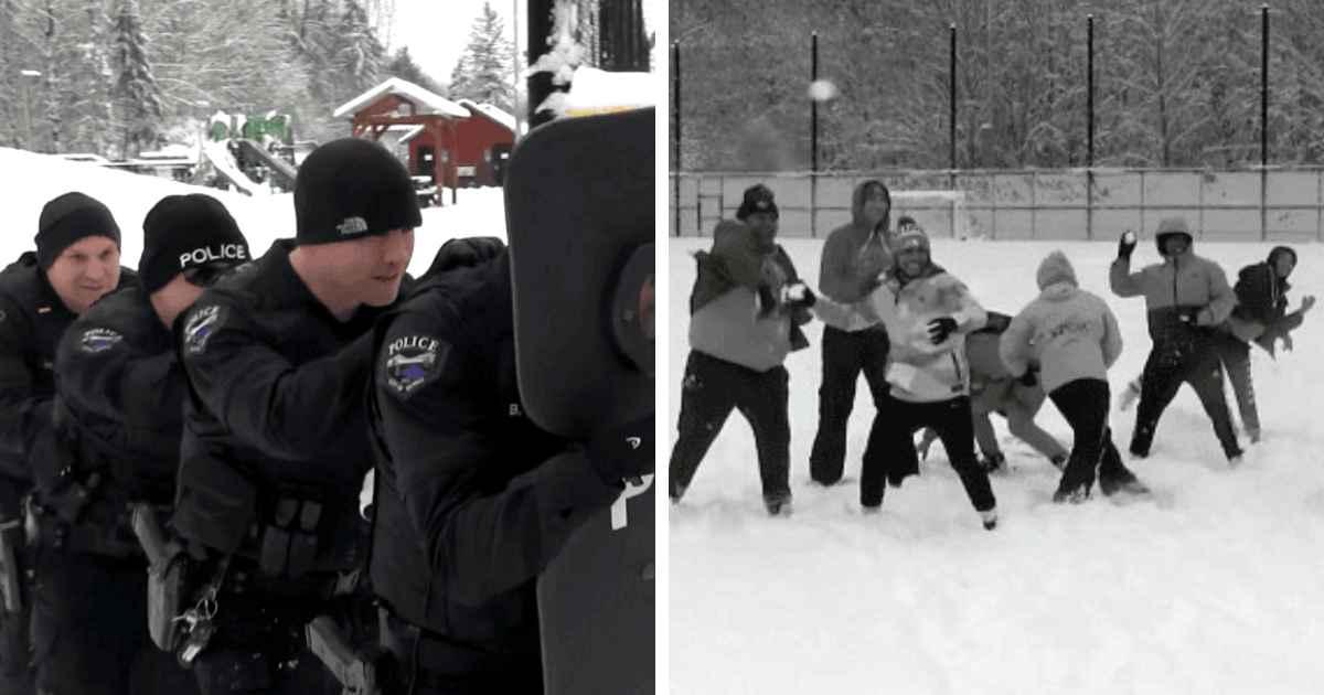 police-snow-ball-fight
