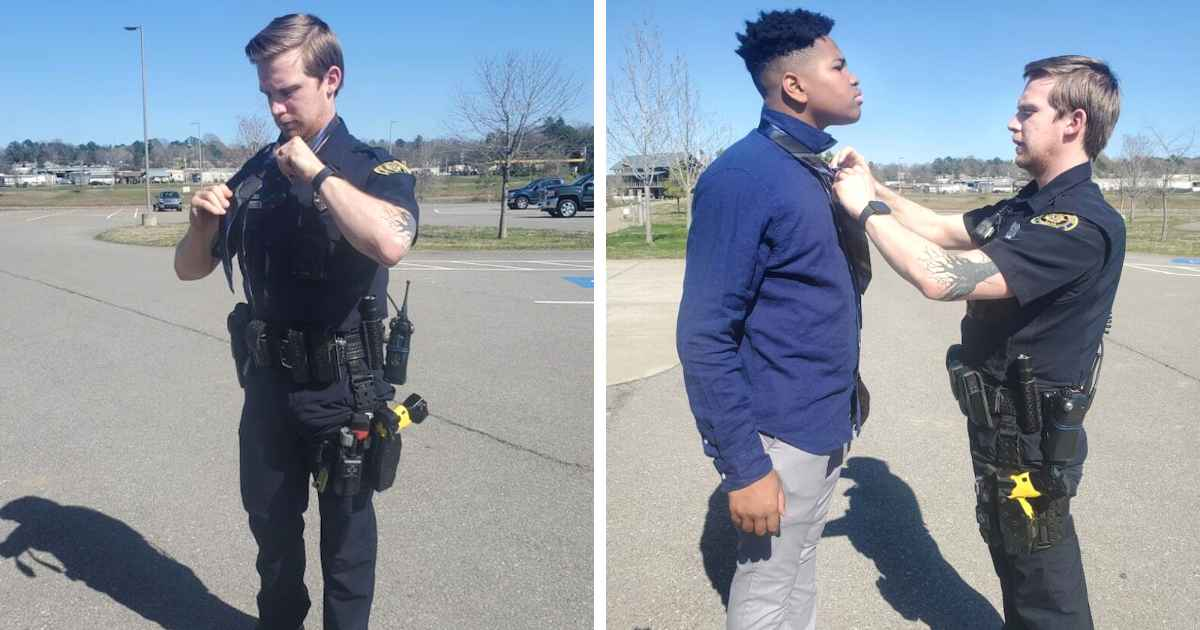 police-officer-helps-teens-tie-a-tie