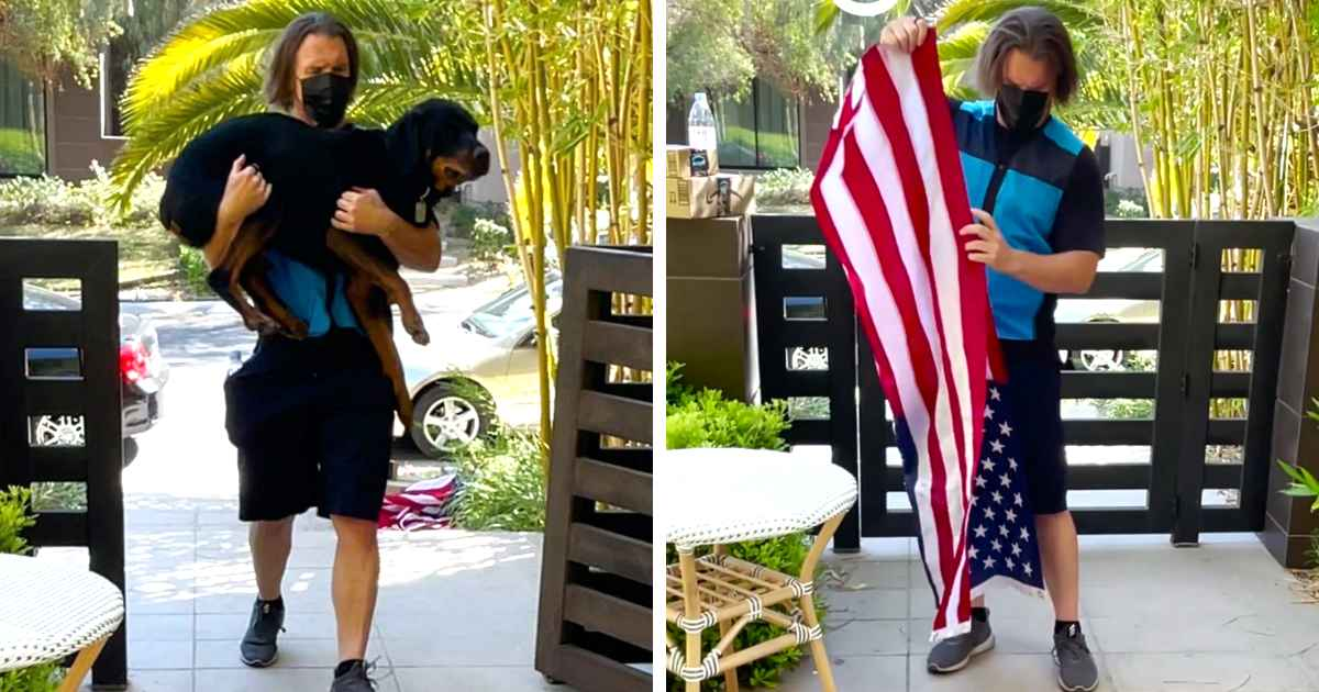 amazon-delivery-driver-folds-american-flag
