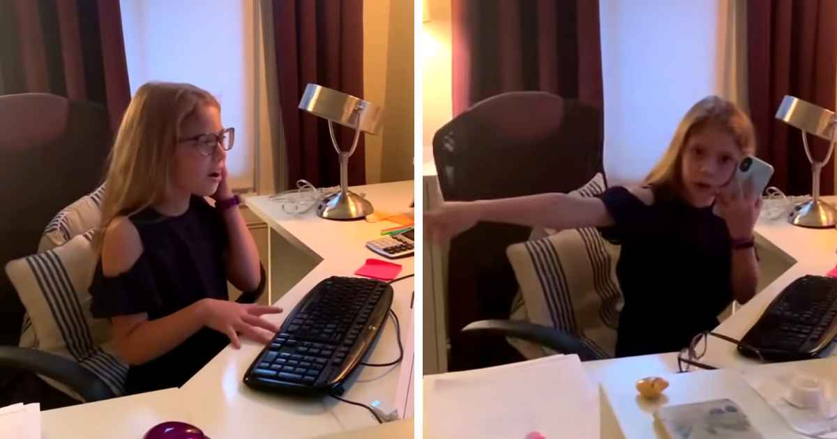 girl-imitates-working-mom
