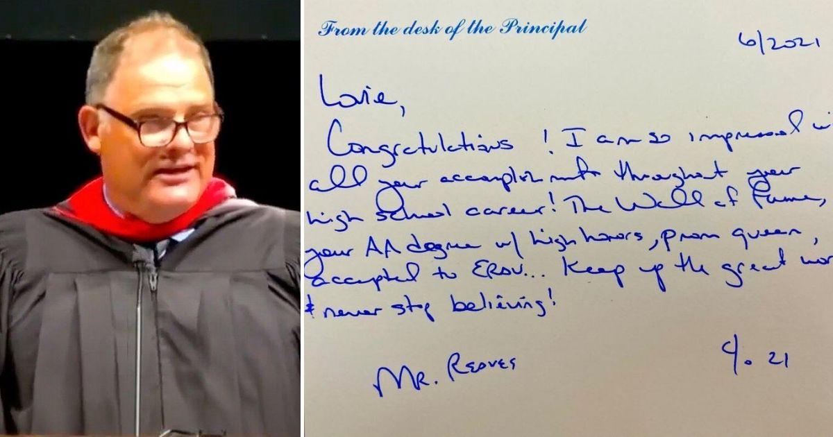 principal letter to graduates Jeff Reaves