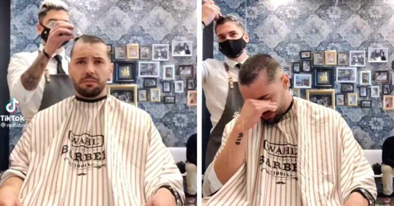 barber shaves head for cancer