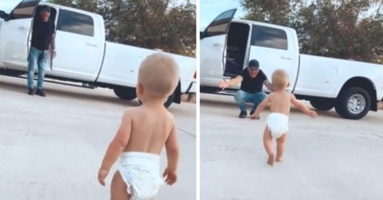 baby runs to trucker dad