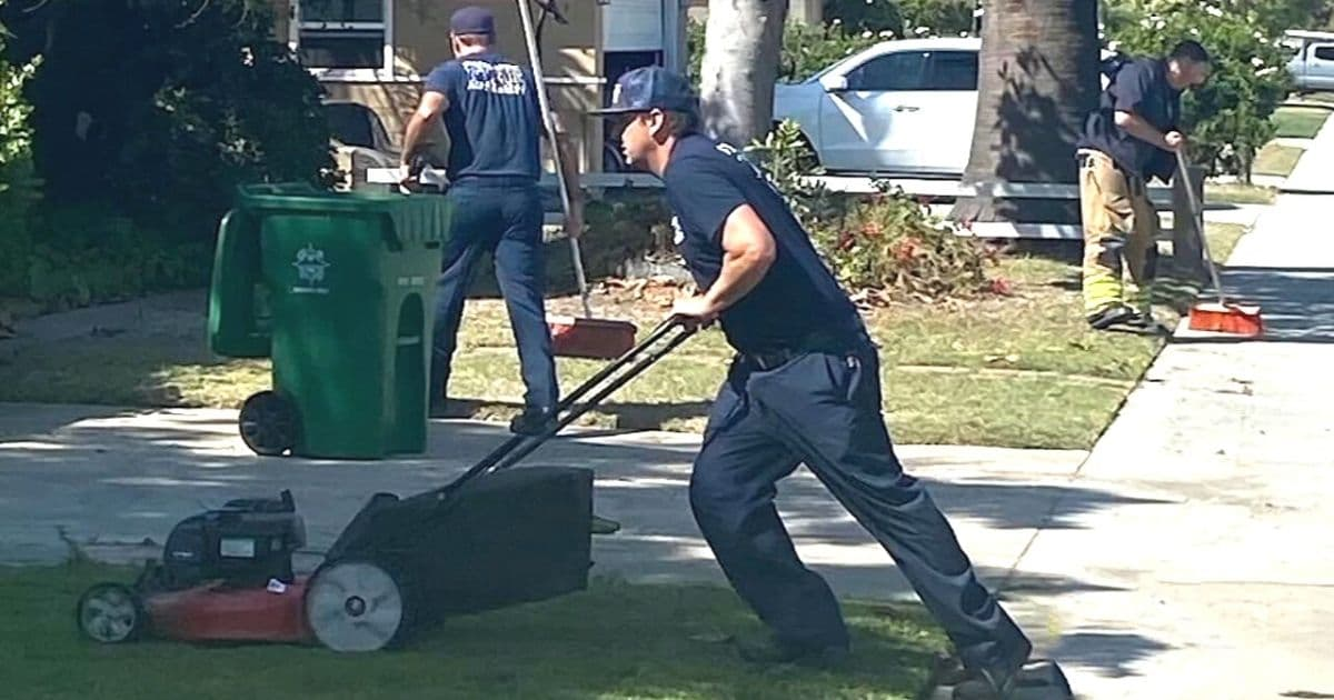 firefighters mow lawn Orange County