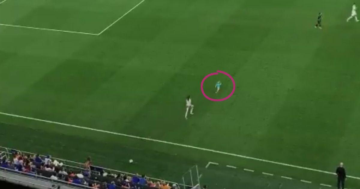 toddler runs into soccer field