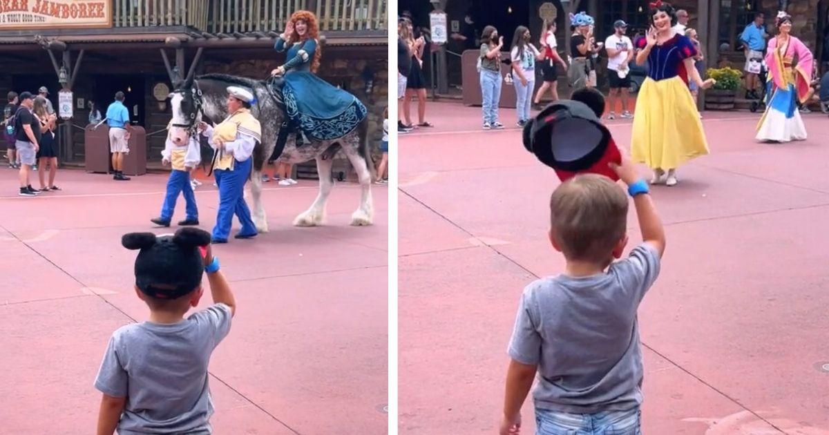 boy tipping hat to disney princess