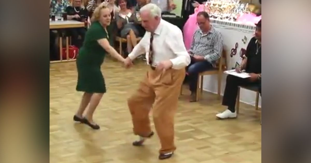 60 year old couple dancing