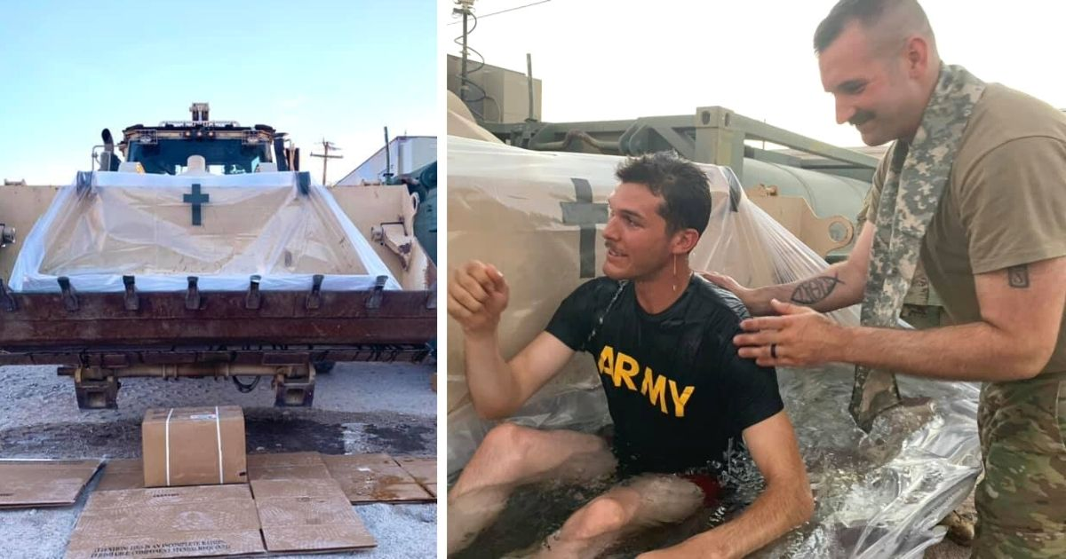 soldiers baptized in makeshift tub