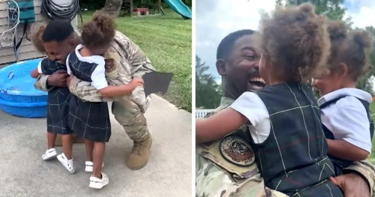 military dad surprises daughters