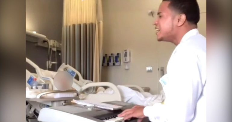 Phlebotomist sings to patients