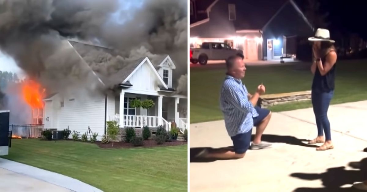 man proposes after house fire