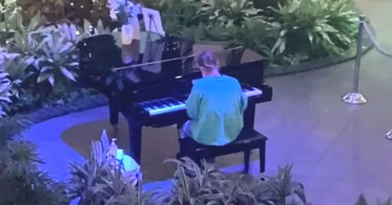 nurse playing piano