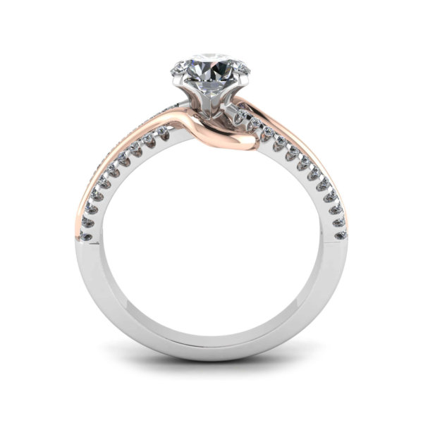 Solitaire Engagement Ring with Rose Gold Detail