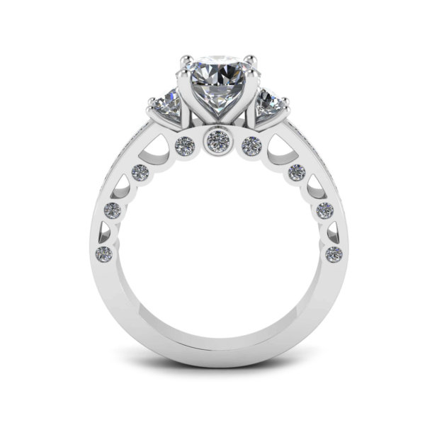 Trilogy Engagement Ring with Detailed Walls