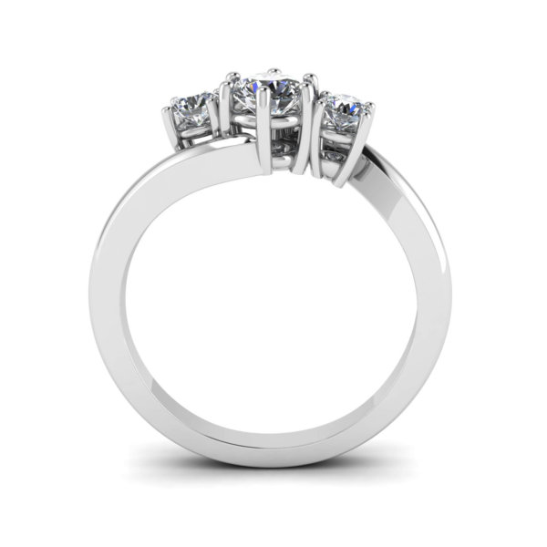 Asymmetric Claw Set Trilogy Engagement Ring