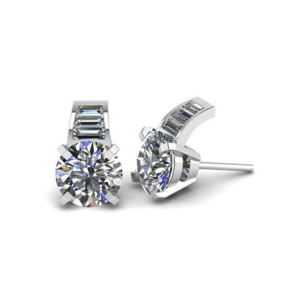 Round & Baguette Cut Diamond Earrings