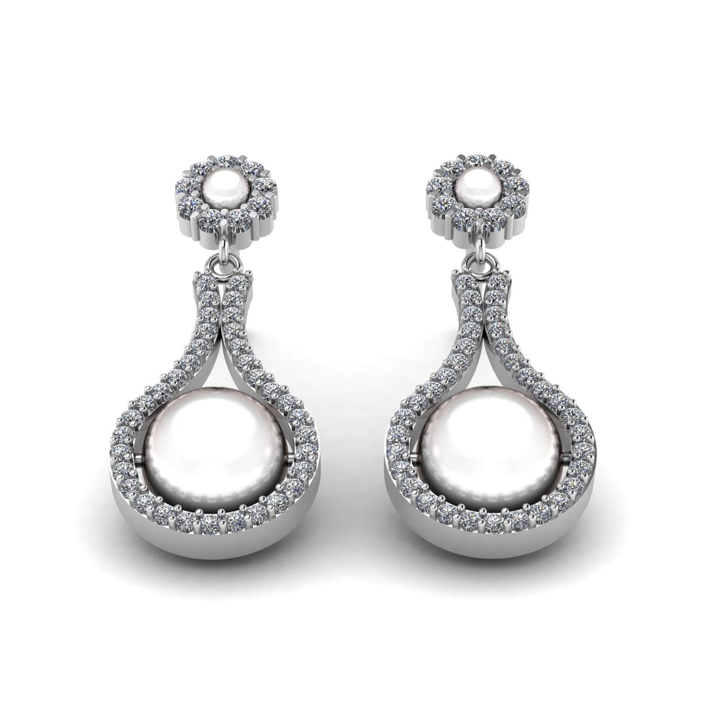 Pearl & Diamond Drop Earrings