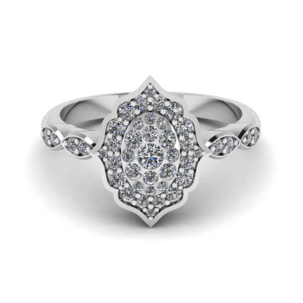 Vintage Style Cluster Engagement Ring