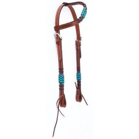 Cabeça Boots Horse Uma Orelha em Couro Liso com Azul Claro