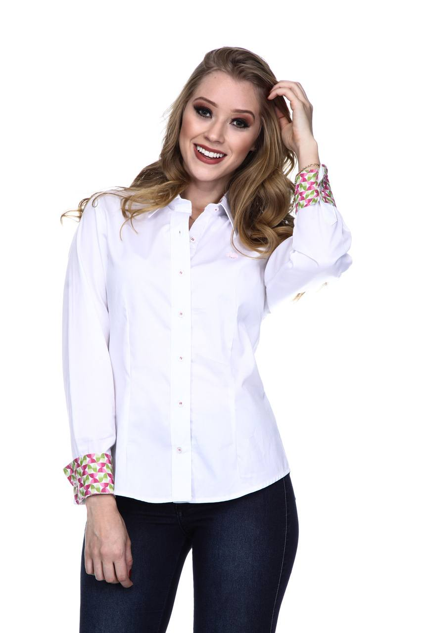 Camisa Feminina Uso Country Manga Longa Branca
