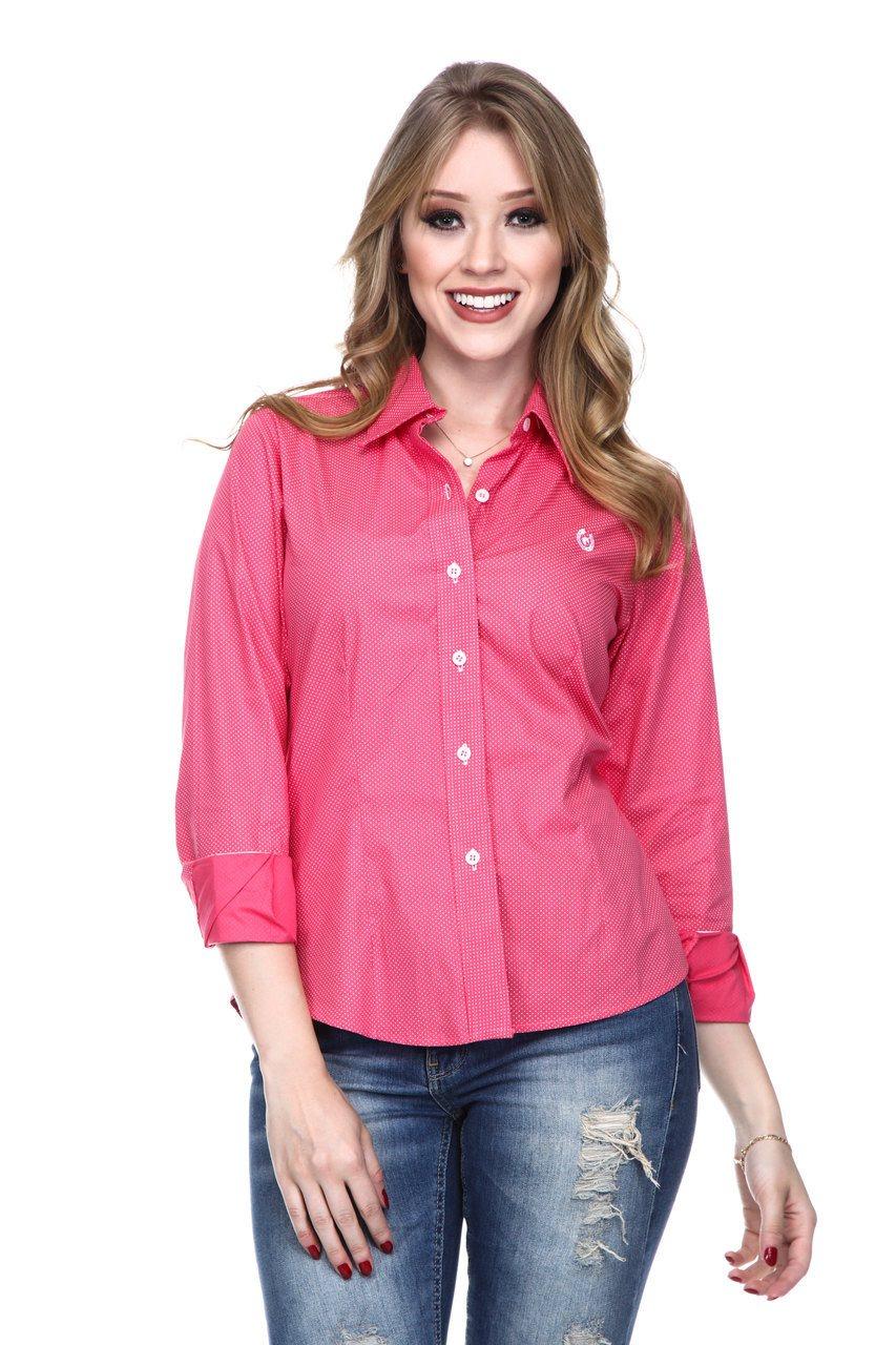 Camisa Feminina Uso Country Manga Longa Pink