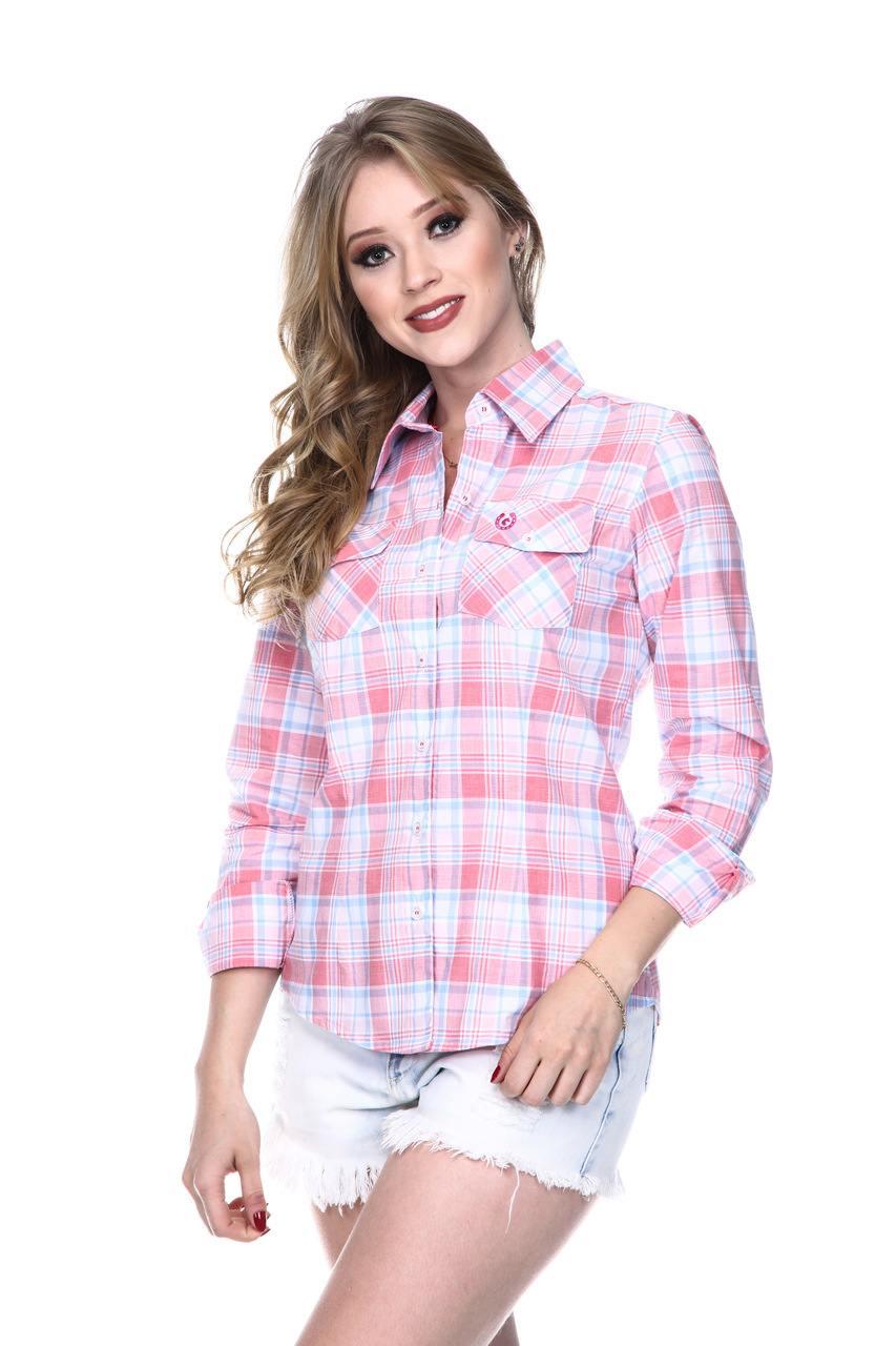 Camisa Feminina Uso Country Manga Longa Xadrez Rosa