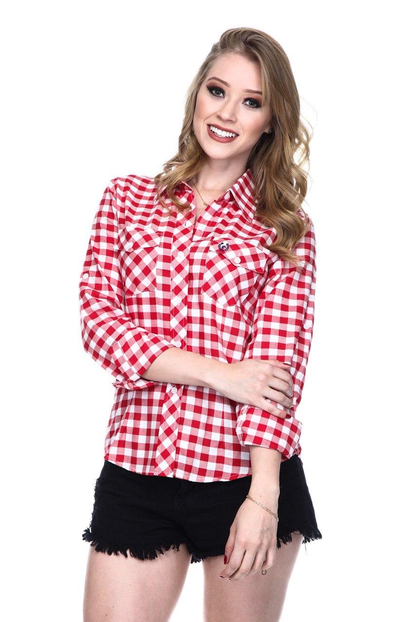 Camisa Feminina Uso Country Manga Longa Xadrez Vermelho e Branco