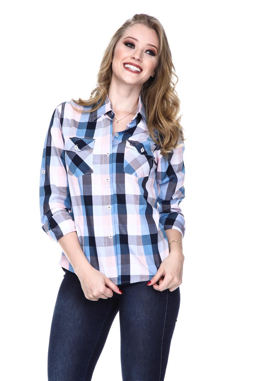 Camisa Feminina Uso Country Manga Longa Xadrez