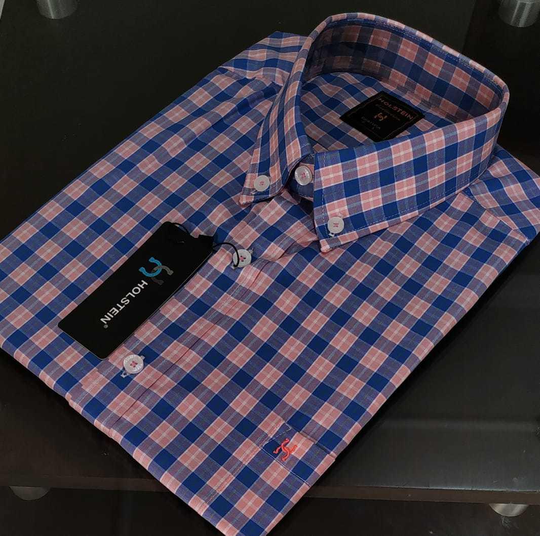 Camisa Manga Curta xadrez Rosa e  Azul Holstein.