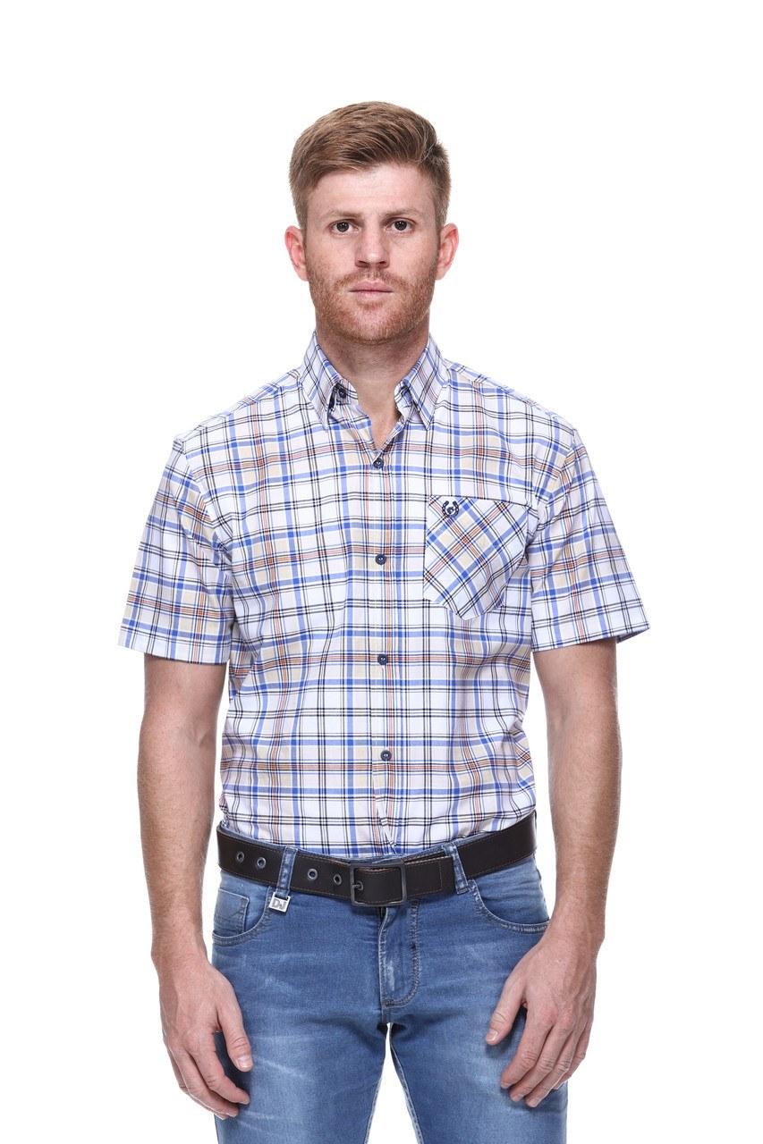 Camisa Masculina Uso Country Manga Curta Azul com Laranja