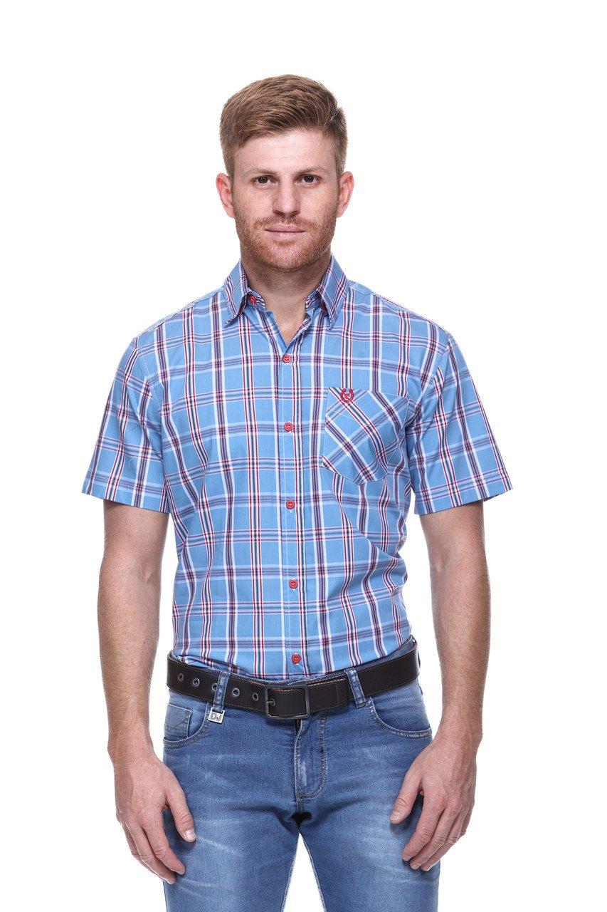 Camisa Masculina Uso Country Manga Curta Azul