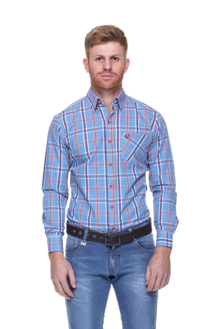 Camisa Masculina Uso Country Manga Longa Azul com Vermelho