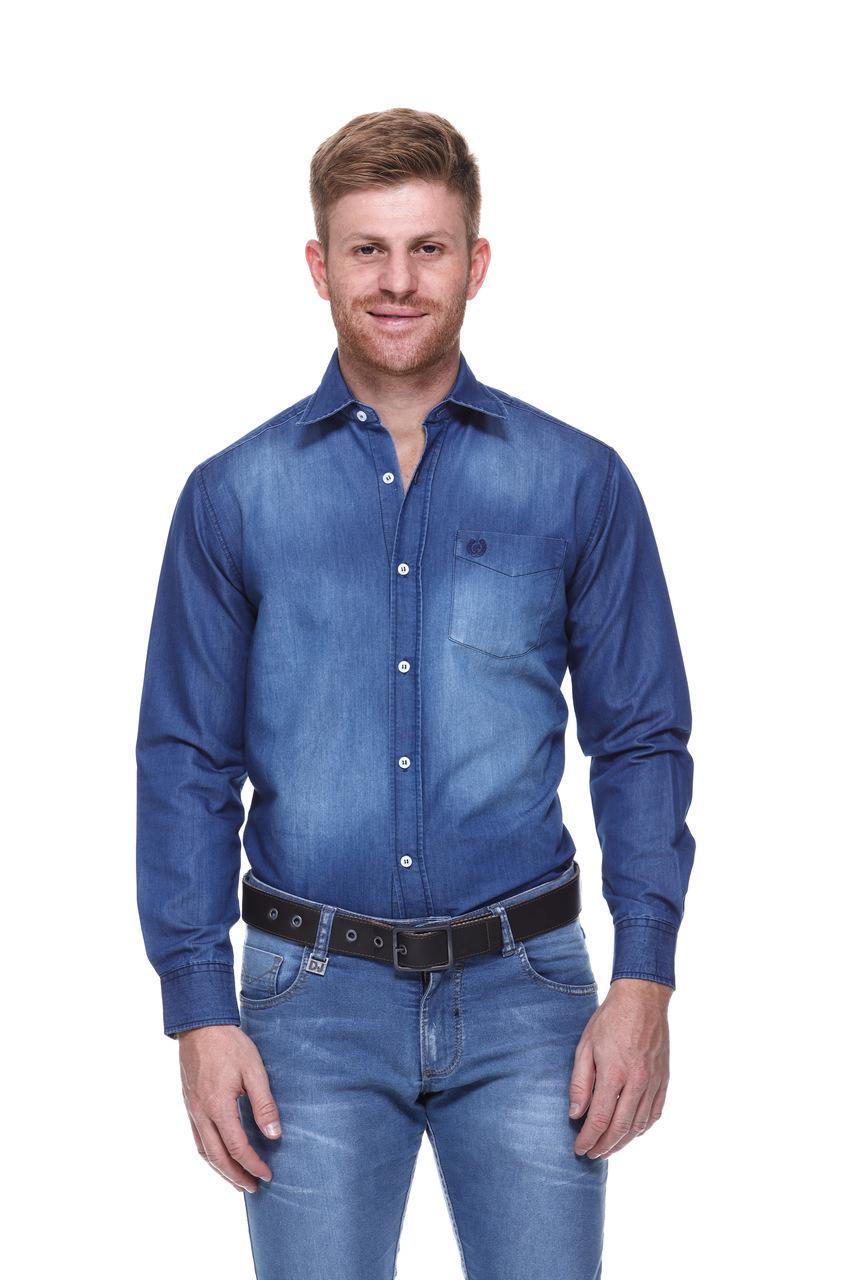 Camisa Masculina Uso Country Manga Longa Jeans