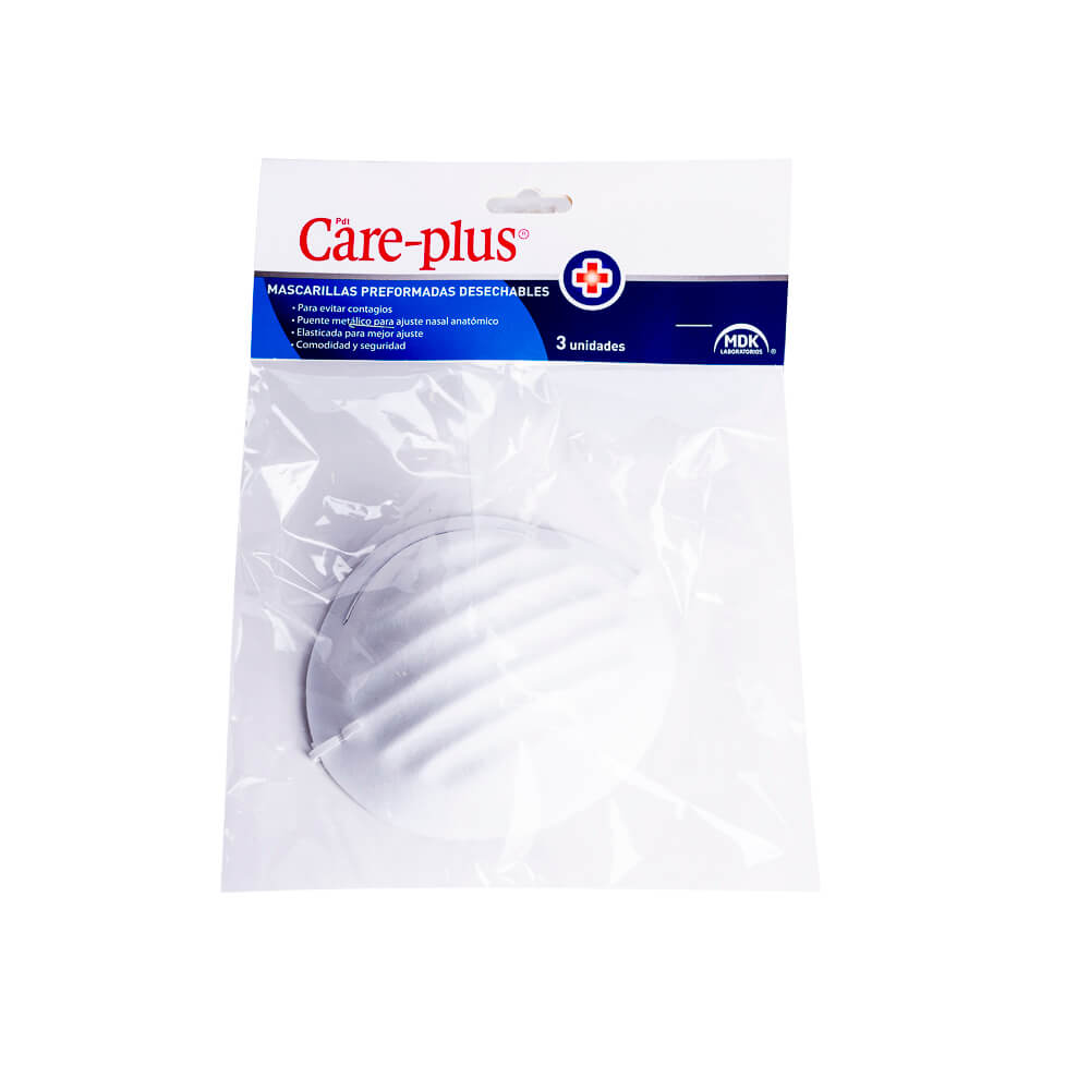Care Plus Mascarilla Blanca x 3 Unidades